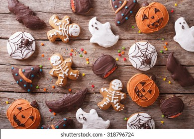Festive Gingerbread Halloween on the table. horizontal view from above