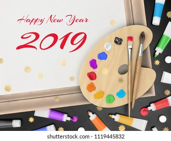 Festive Greetings From Artist - Happy New Year 2019. Set of painter's creative tools decorated with randomly scattered confetti. 3D rendering graphic composition on the theme of 'Festive Holidays'.