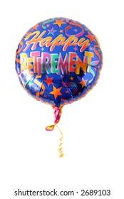 "Festive helium balloon with ""Happy Retirement"" written on it"