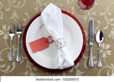 Festive holiday dinner place setting