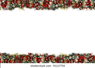 Festive Holiday Stationary / Background, Garland Border Made Of Holly Berries, Pine Cones, Gold Glitter, Red Ponsettia Flowers, all with lots of Christmas Color!
