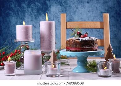 Festive holiday table with English style Christmas fruit cake with glamorous table setting with pink candles & Christmas Desserts Setting Table Images Stock Photos \u0026 Vectors ...
