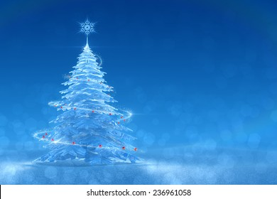 Festive Ice Tree. Christmas / New Year's graphic background. 3D-rendered image. Right side version