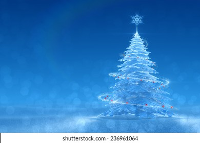 Festive Ice Tree. Christmas / New Year's graphic background. 3D-rendered image. Left side version
