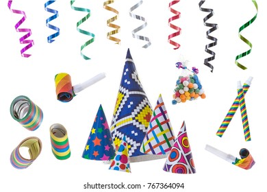 festive image with rolls of curly ribons on ltop efts corner and multi coloured party favors on the gound on white background