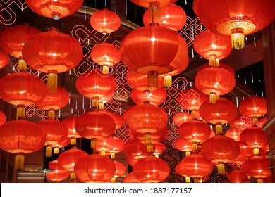 Festive lanterns for Chinese New Year celebration. Decoration, illumination, lighting and bright symbol of holiday event. - Shutterstock ID 1887177157