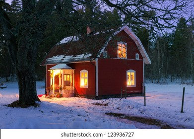 Festive lighted house in Sweden at Christmas time