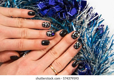 Festive manicure with stars
