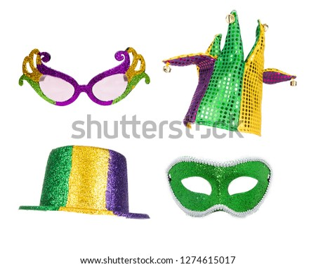 36c5118bb2d6 Festive Mardi Gras party hats, glasses and mask isolated on white for  compositing
