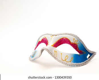 Festive mardi gras venetian or carnivale mask on a white background, Empty space for design