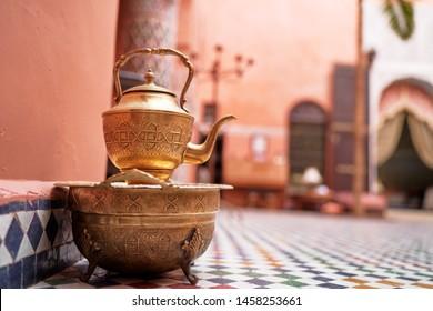 Festive moroccan tea table setting. Oriental hospitality.