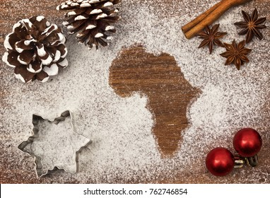Festive motif of flour in the shape of Africa (series)