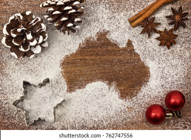 Festive motif of flour in the shape of Australia (series)