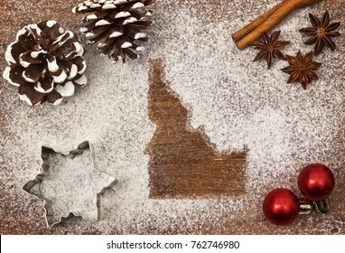 Festive motif of flour in the shape of Idaho (series)