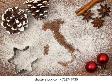 Festive motif of flour in the shape of Italy (series)