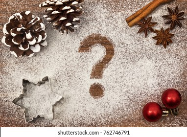 Festive motif of flour in the shape of a question mark (series)