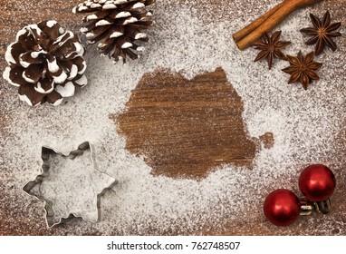 Festive motif of flour in the shape of Romania (series)