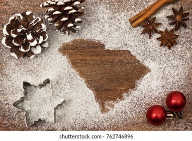 Festive motif of flour in the shape of South Carolina (series)