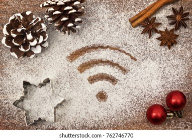 Festive motif of flour in the shape of a WiFi symbol (series)