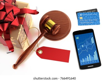 """Festive Online Auction. Illustration on the subject of """"Internet Trading"""". 3D rendering graphics on reflective white background."""