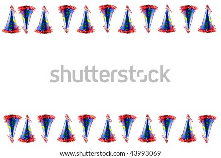 festive party hat border at top and bottom with white background and copy space in the