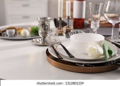 Festive Passover table setting, space for text. Pesach celebration