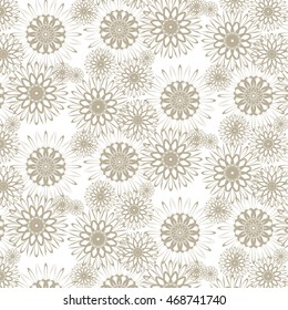 Festive pattern of beige original pieces on a  white  background.