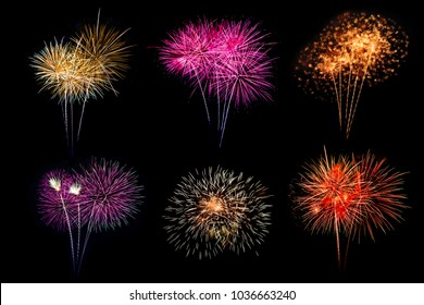 Festive patterned of Colorful assorted firework bursting in various shapes sparkling pictograms set against black background abstract