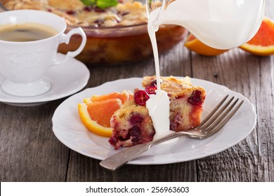 Festive pie with cranberry, almonds and orange