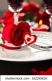 Festive place setting for Valentine's day
