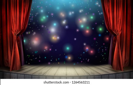 Festive poster for night show decoration or art presentation with classic theater stage, velvet red curtains and colorful night lights of illumination and glitters at dark background.