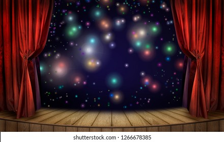 Festive poster for night show decoration or art presentation with classic theater stage, velvet red curtains and colorful  lights of illumination and glitters on night background.