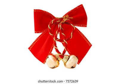Festive Red Bow with Golden Bells Isolated on White