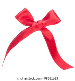 Festive red gift  bow isolated on white background