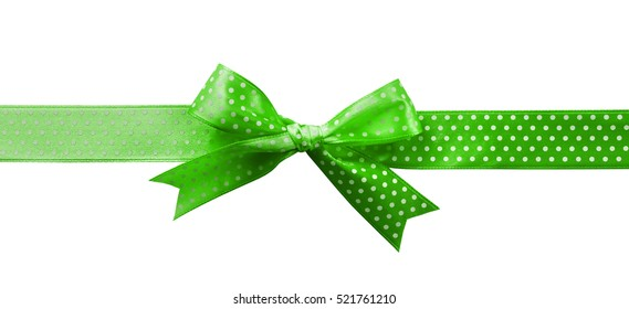 Festive ribbon bow with polka dot on white background