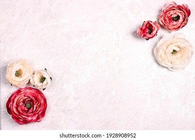 Festive romantic background with peony flowers on light marble. Floral frame top down composition with copy space for text. Valentine's Day, Mother's Day or 8 March greeting card.