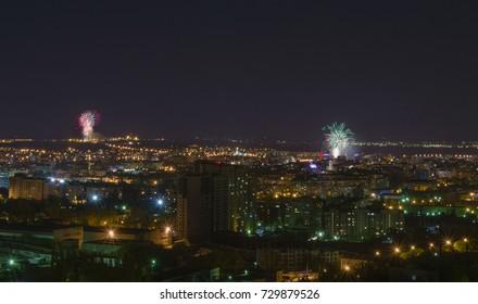 festive salute over the night city