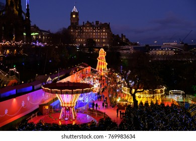 Festive scene of Edinburgh's Christmas market