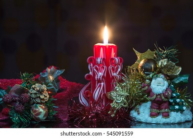 Festive scenery for Christmas and new year with a candle