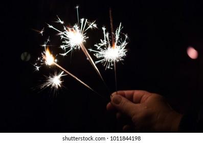 festive Sparkler burns night, a Sparkler to the hand closeup