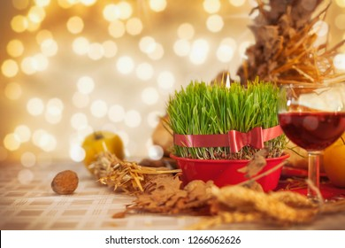 Festive table decorated for orthodox christmas at home
