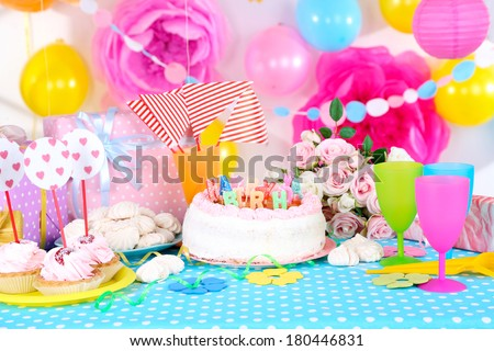 Festive Table Setting For Birthday On Celebratory Decorations