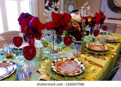 Festive table setting decoration for Christmas