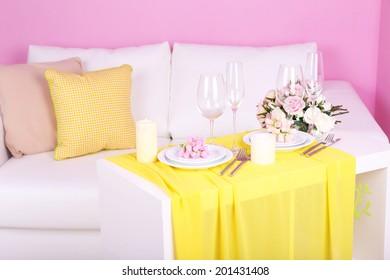 Festive table setting in interior