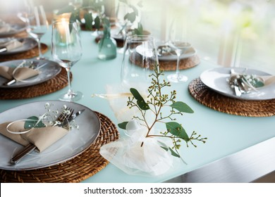 Festive table setting for a romantic wedding event