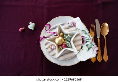 Festive table sitting with decorations for the holiday season