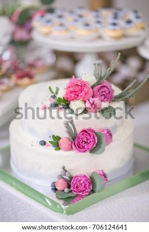 Festive Twolevel Wedding Cake Decorated Fresh Stock Photo Edit Now