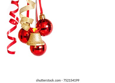 Festive wallpaper. Christmas decoration, shining red balls and golden  jingle bell.