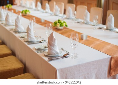 festive wedding table in a restaurant.