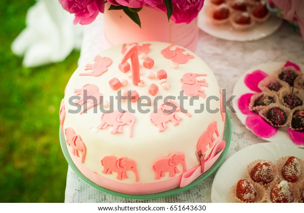 Awe Inspiring Festive White Birthday Cake Pink Elephants Stock Photo Edit Now Birthday Cards Printable Trancafe Filternl